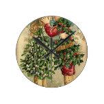 Reloj Redondo Mediano Día de fiesta retro del vintage del beso del