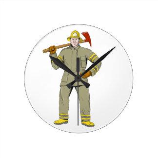 Reloj Redondo Mediano Dibujo americano del hacha del fuego del bombero