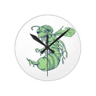 Reloj Redondo Mediano Dibujo animado de la abeja del zombi