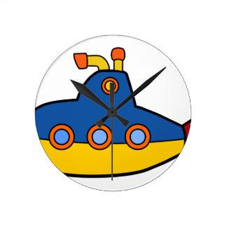 Reloj Redondo Mediano Dibujo animado del submarino del juguete