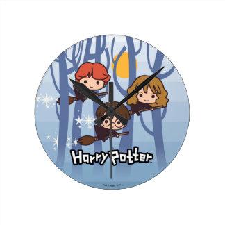 Reloj Redondo Mediano Dibujo animado Harry, Ron, y vuelo de Hermione en