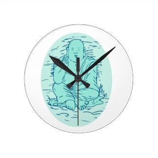 Reloj Redondo Mediano Dibujo de la actitud de Gautama Buddha Lotus