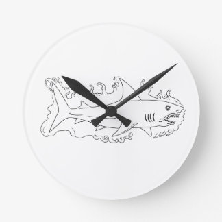 Reloj Redondo Mediano Dibujo del lado del agua del tiburón