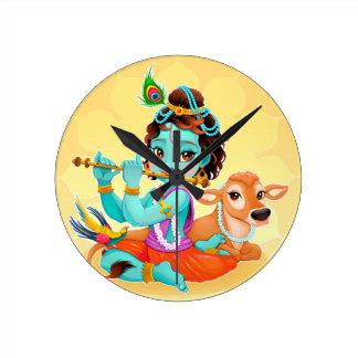 Reloj Redondo Mediano Dios indio de Krishna que juega el ejemplo de la