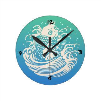 Reloj Redondo Mediano Diseño azul del vintage del arte de los pescados