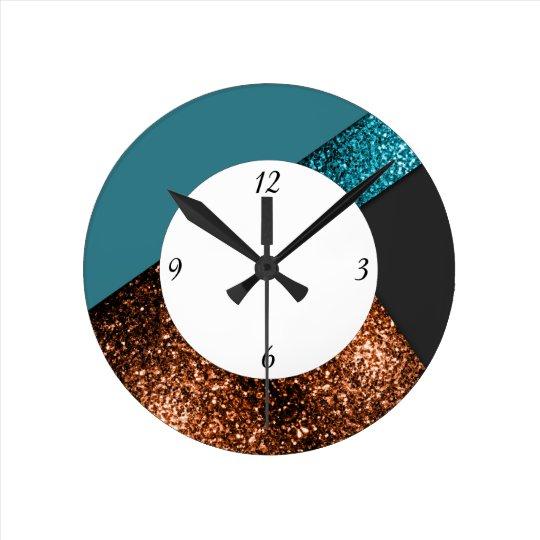 Reloj Redondo Mediano Diseño de bronce azul de las chispas de la