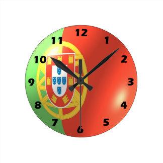 Reloj Redondo Mediano Diseño portugués de la bandera