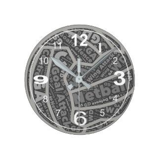 Reloj Redondo Mediano Diseño temático de la bola de las posiciones del