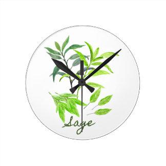 Reloj Redondo Mediano Ejemplo del sabio de la hierba de la acuarela