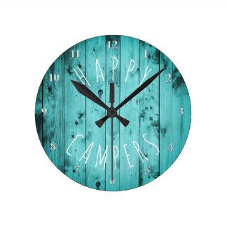 Reloj Redondo Mediano El acampar de madera del retiro rv de la turquesa