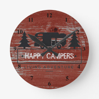 Reloj Redondo Mediano El acampar rústico rojo de madera rv del granero