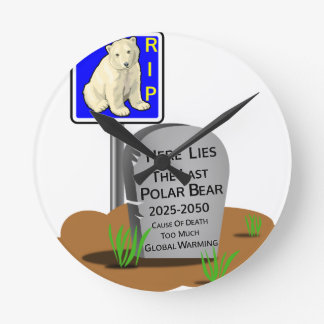 Reloj Redondo Mediano El calentamiento del planeta, RASGA el oso polar