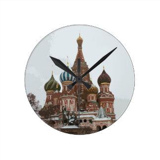 Reloj Redondo Mediano El cathedral_russo de la albahaca del santo