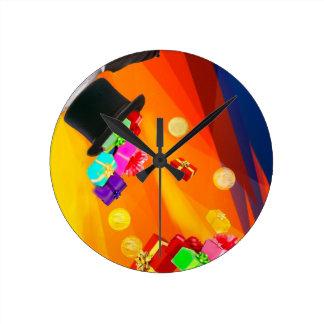 Reloj Redondo Mediano El gorra del mago le trae los regalos de oro