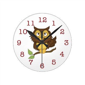 Reloj Redondo Mediano El Pared-reloj del niño lindo del búho