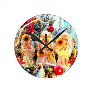 Reloj Redondo Mediano el tocar la trompeta de los ángeles de las Felices