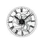 Reloj Redondo Mediano El vintage náutico del pulpo del steampunk kraken