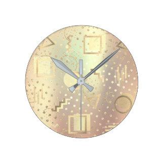 Reloj Redondo Mediano El zigzag retro de la vanguardia puntea el oro