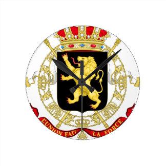 Reloj Redondo Mediano Emblema belga - escudo de armas de Bélgica