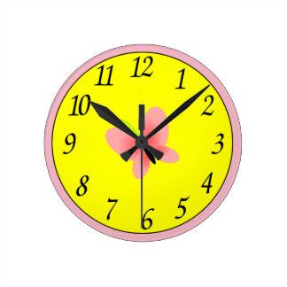 Reloj Redondo Mediano Emoji de la mariposa