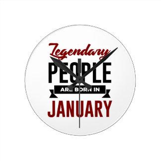 Reloj Redondo Mediano En enero cumpleaños llevado legendario de los