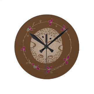 Reloj Redondo Mediano Erizo del otoño