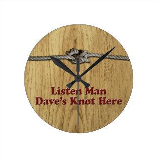 Reloj Redondo Mediano Escuchan los Multi-Productos del nudo de Dave del