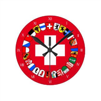 Reloj Redondo Mediano Escudo de armas de los cantones suizos
