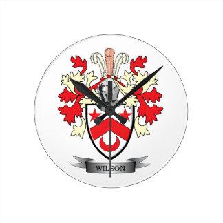 Reloj Redondo Mediano Escudo de armas del escudo de la familia de Wilson