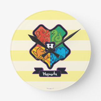 Reloj Redondo Mediano Escudo de Hogwarts del dibujo animado
