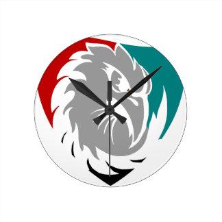 Reloj Redondo Mediano Escudo de la protección de seguridad del halcón