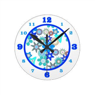Reloj Redondo Mediano Estampado de plores azul enrrollado