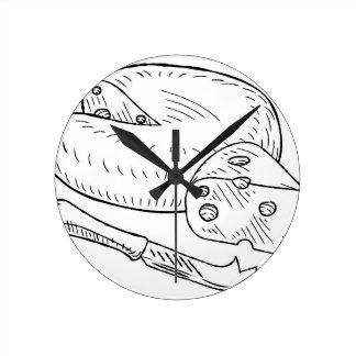 Reloj Redondo Mediano Estilo retro de la aguafuerte del vintage del