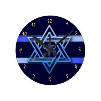Reloj Redondo Mediano Estrella de David magnífica en el fondo azul judío