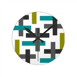 Reloj Redondo Mediano Extracto azul, verde, gris retro