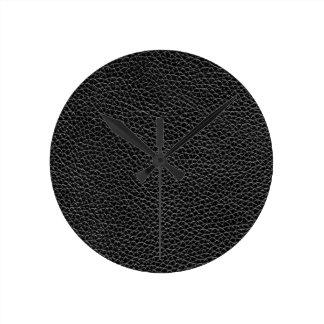 Reloj Redondo Mediano Falso cuero negro