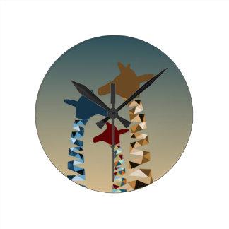 Reloj Redondo Mediano Familia coloreada extracto de la jirafa