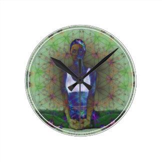 Reloj Redondo Mediano Flor de la serie de la yoga de la vida