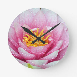 Reloj Redondo Mediano Flor rosada del lirio de agua