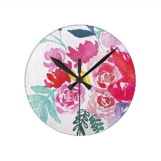 Reloj Redondo Mediano Flores de la acuarela