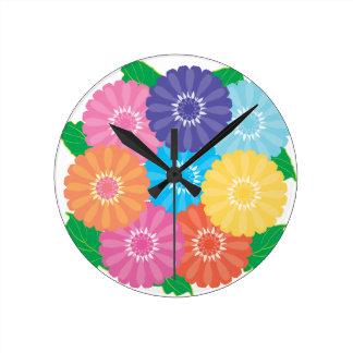Reloj Redondo Mediano Flores del Gerbera