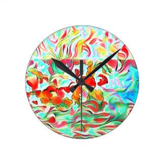 Reloj Redondo Mediano Flores en el agua