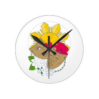 Reloj Redondo Mediano Flujo filipino de Sampaguita del hibisco de Sun de