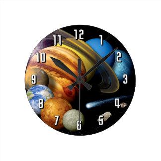 Reloj Redondo Mediano Fotos del espacio del montaje de los planetas de