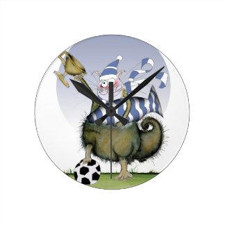 Reloj Redondo Mediano gatito de los azules del fútbol