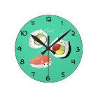 Reloj Redondo Mediano Gato lindo del sushi