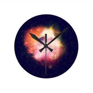 Reloj Redondo Mediano Gato Portrait2 del espacio