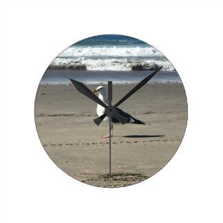 Reloj Redondo Mediano Gaviota en la playa
