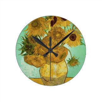 Reloj Redondo Mediano Girasoles de Vincent van Gogh el |, 1888