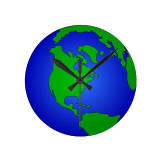 Reloj Redondo Mediano Globo de la tierra
